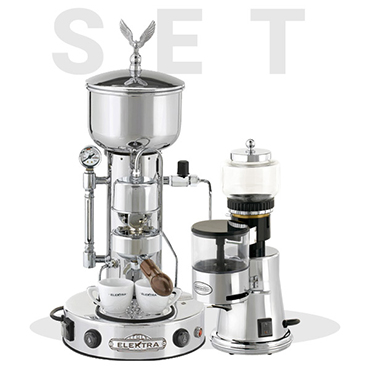 Elektra special set offer: Elektra Semiautomatica coffee machine SXC Chrome and Grinder Msc 2016 Ed.
