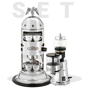 Elektra special set offer: Miniverticale Chrome A1C and Grinder Msc  2016 Ed.