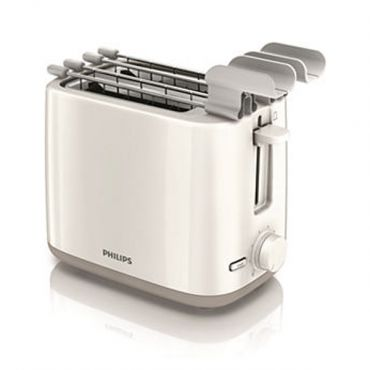 Philips Daily Collection Toaster HD2597/00 2 slot Compact White beige Reheat, sandwich rack