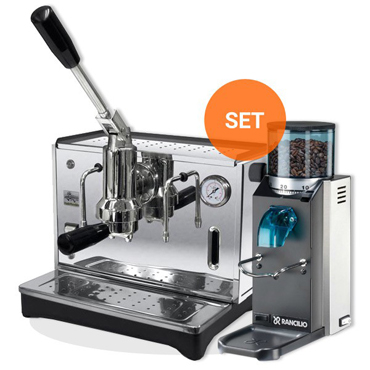 PONTE VECCHIO LUSSO CHROME COFEE MACHINE AND RANCILIO ROCKY DOSERLESS